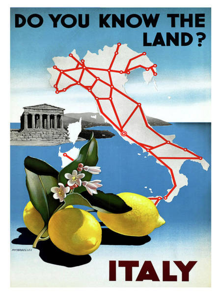Tradition Painting - Italy, Lemons, Vintage Travel Poster by Long Shot