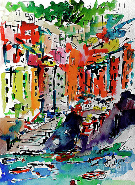 Painting - Italy Riomaggiore Expressive Watercolor by Ginette Callaway