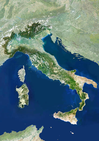 Wall Art - Photograph - Italy, Satellite Image by Planetobserver