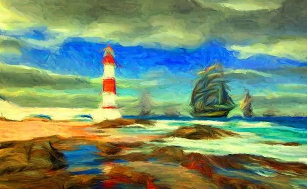 Digital Art - Itapua Lighthouse 1 by Caito Junqueira
