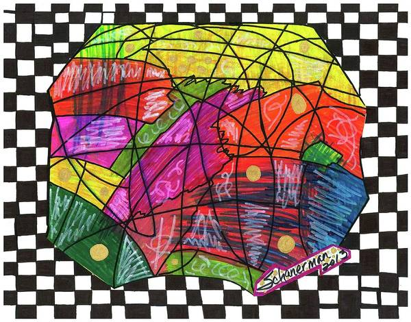 Drawing - It's A Mad Mad Mad Mad World by Susan Schanerman