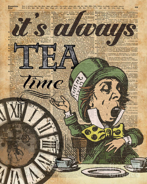 Childhood Digital Art - It's Always Tea Time Mad Hatter Dictionary Art by Anna W