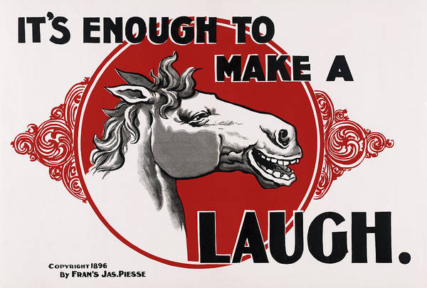 Steed Photograph - It's Enough To Make A Horse Laugh  1898 by Daniel Hagerman