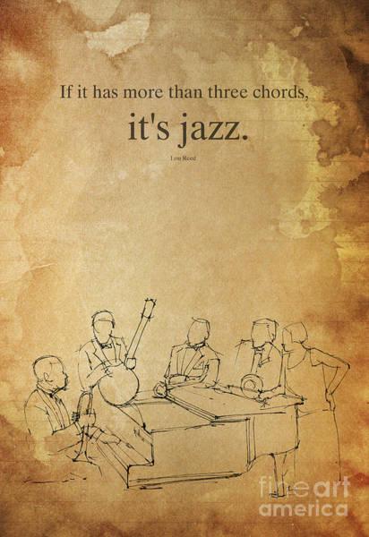 Wall Art - Drawing - It's Jazz. Original Handmade Drawing by Drawspots Illustrations
