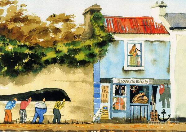 Painting - Its Only A Mural ... Kinvara by Val Byrne