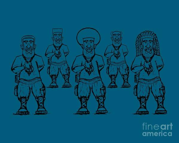 Drawing - Iuic Soldier 1 W/outline by Robert Watson