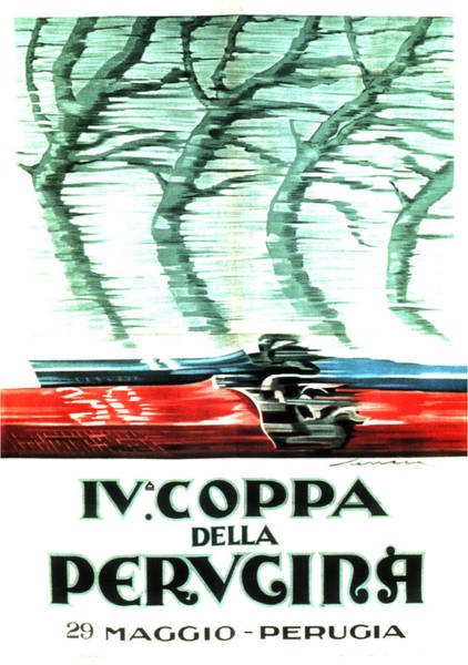 Vintage Automobiles Mixed Media - Iv Coppa Della Perugina - Vintage Italian Car Advertisment Poster by Studio Grafiikka