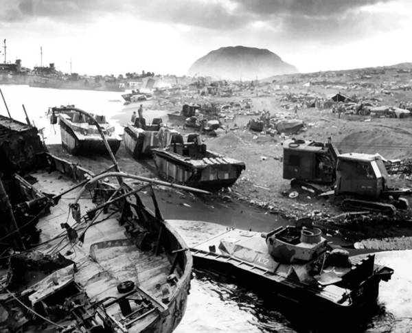 Mounted Photograph - Iwo Jima Beach by War Is Hell Store