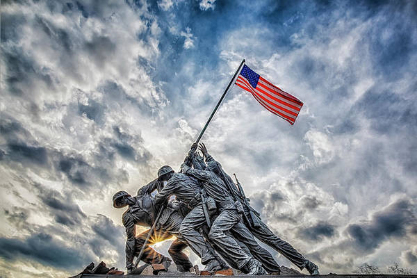 Raising Wall Art - Photograph - Iwo Jima Memorial by Susan Candelario