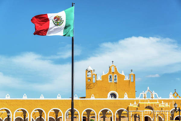Wall Art - Photograph - Izamal Monastery And Flag by Jess Kraft