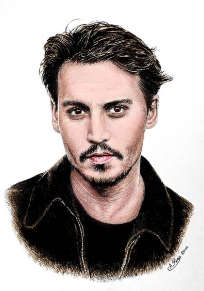 Male Model Drawing - J Depp Colour 1 by Andrew Read