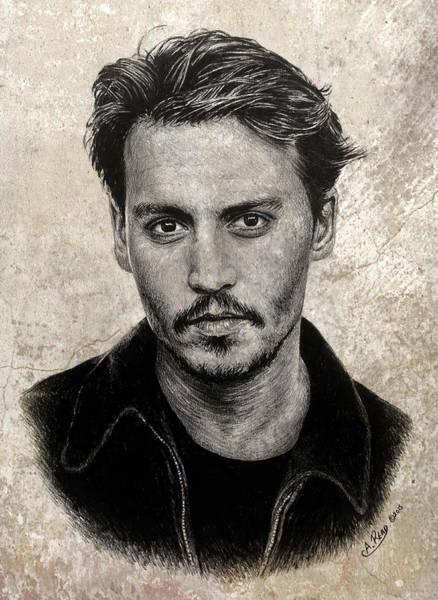 Johnny Depp Painting - J Depp Sepia Splash Edit by Andrew Read