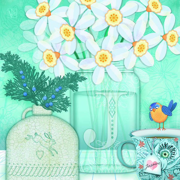 Digital Art - J Is For Jar Of Jonquils by Valerie Drake Lesiak