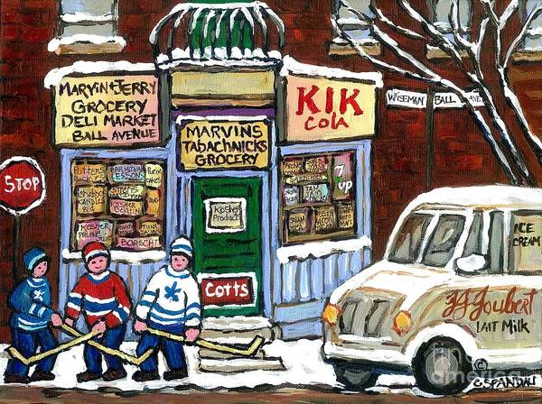 Montreal Street Scene Wall Art - Painting - J J Joubert Vintage Milk Truck At Marvin's Grocery Montreal Memories Street Hockey Best Hockey Art by Carole Spandau