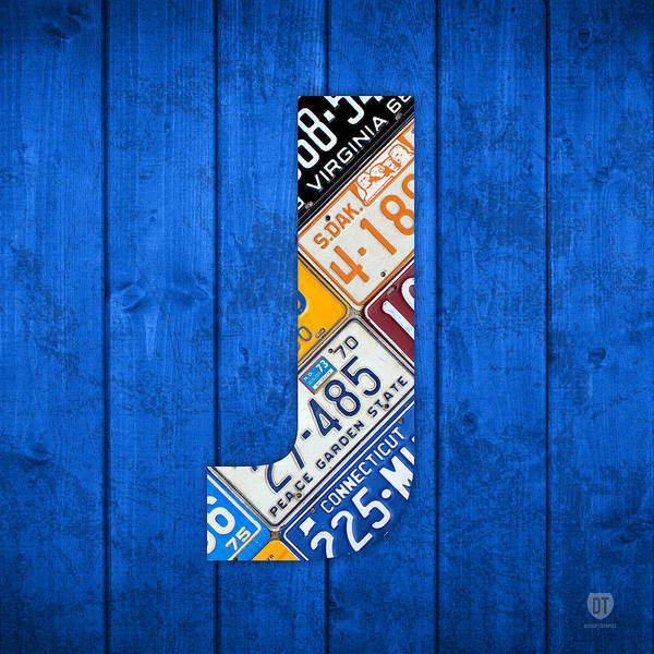 Background Mixed Media - J License Plate Letter Art Blue Background by Design Turnpike