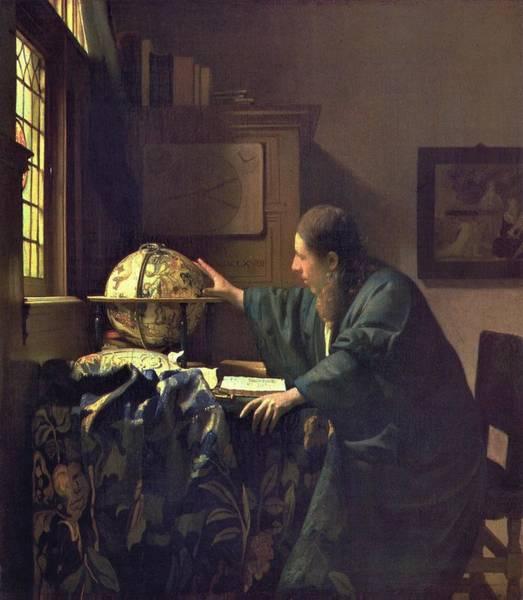 Postmark Painting - J. Vermeer - El Astrqnomo  Museo Del Louvre by Johannes Vermeer