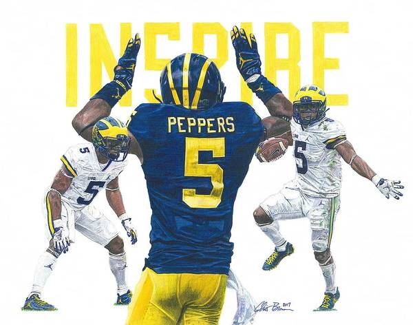Wolverines Drawing - Jabrill Peppers - In5pire by Chris Brown
