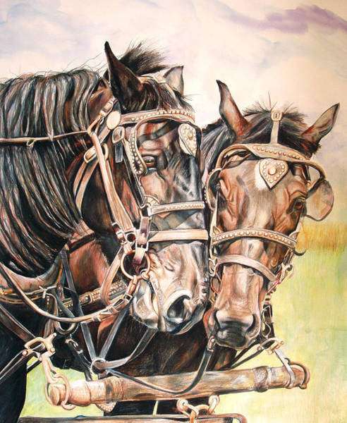Draft Painting - Jack And Joe Hard Workin Horses by Toni Grote