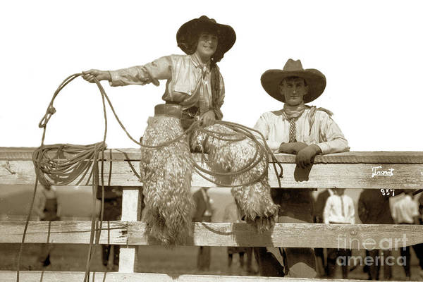 Photograph - Jack And Nattie Hawn Salinas Rodeo 1913 by California Views Archives Mr Pat Hathaway Archives