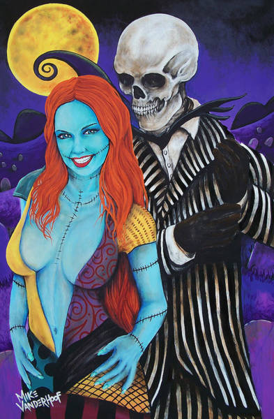 Skellington Painting - Jack And Sally by Michael Vanderhoof