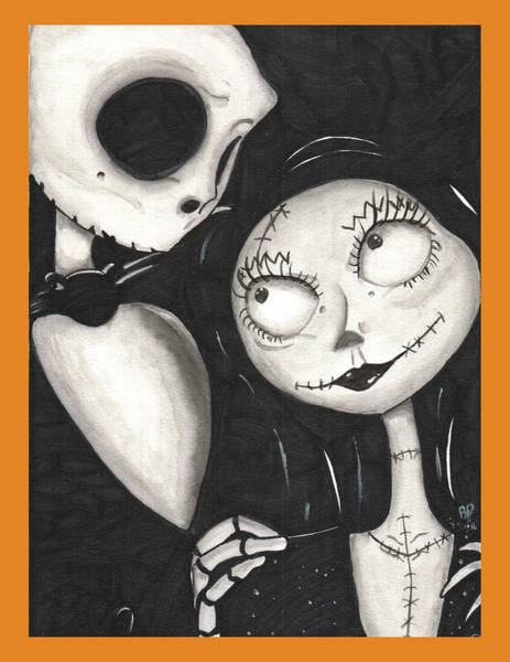 Skellington Painting - Jack And Sally / Orange by Rebecca Driggers