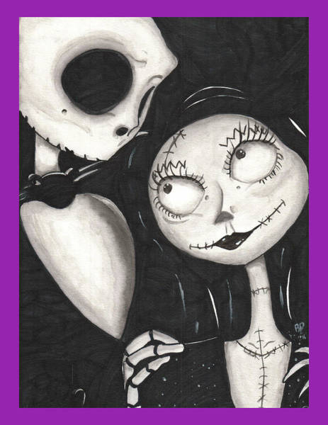 Skellington Painting - Jack And Sally / Purple by Rebecca Driggers