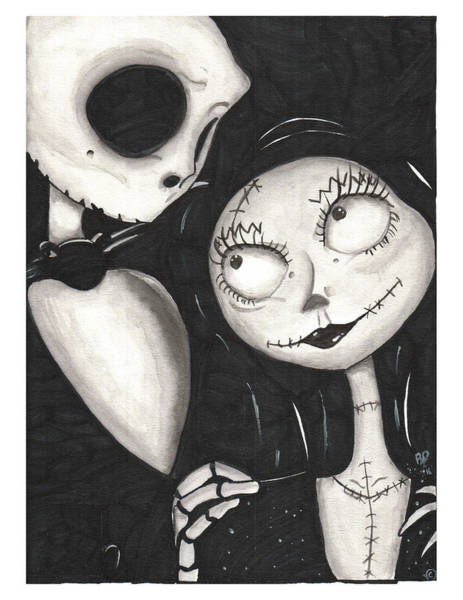 Skellington Painting - Jack And Sally  by Rebecca Driggers