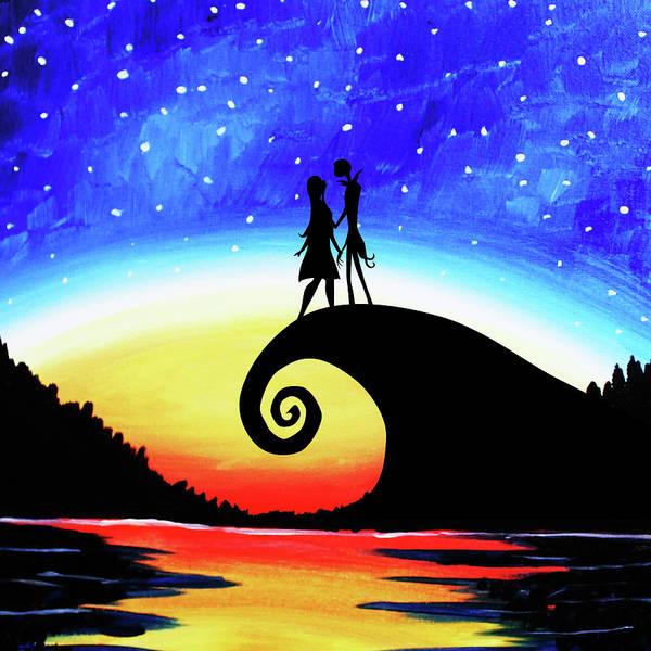 Skellington Painting - Jack And Sally Starry Night by Dedi Kurniadi