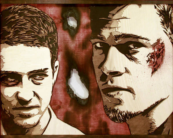 David Choe Wall Art - Painting - Jack And Tyler Wood Version by Bobby Zeik