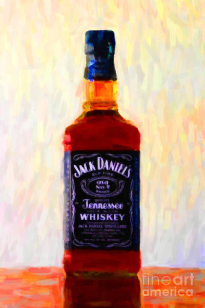 Wall Art - Photograph - Jack Daniel's Tennessee Whiskey 80 Proof - Version 1 - Painterly by Wingsdomain Art and Photography
