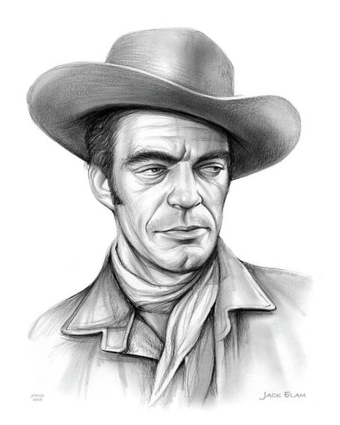 Professional Drawing - Cowboy Jack Elam by Greg Joens