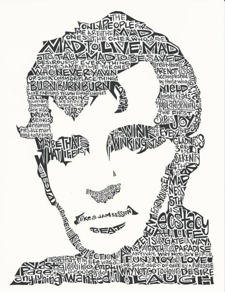 Ink Pen Drawing -  Jack Kerouac Black And White Word Portrait by Inkpaint Wordplay