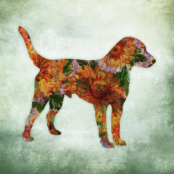 Terrier Digital Art - Jack Russell Terrier Floral On Green by Flo Karp