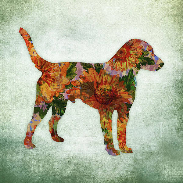Jack Russell Wall Art - Digital Art - Jack Russell Terrier Floral On Green by Flo Karp
