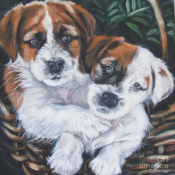 Jack Russell Wall Art - Painting - Jack Russell Terrier Pups by Lee Ann Shepard