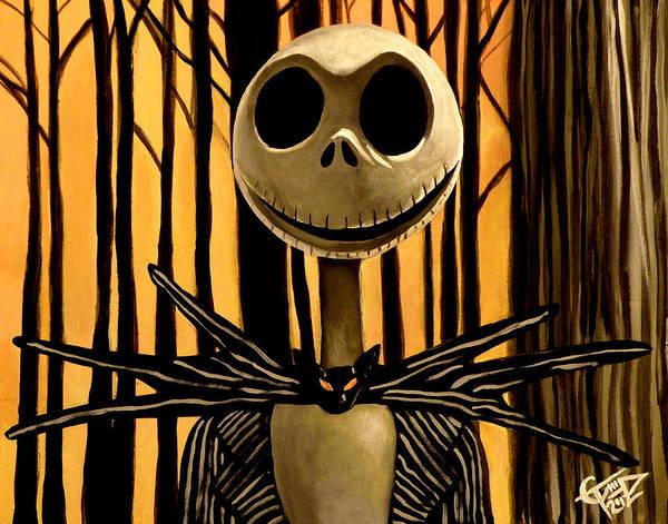 Tim Burton Wall Art - Painting - Jack Skelington by Tom Carlton