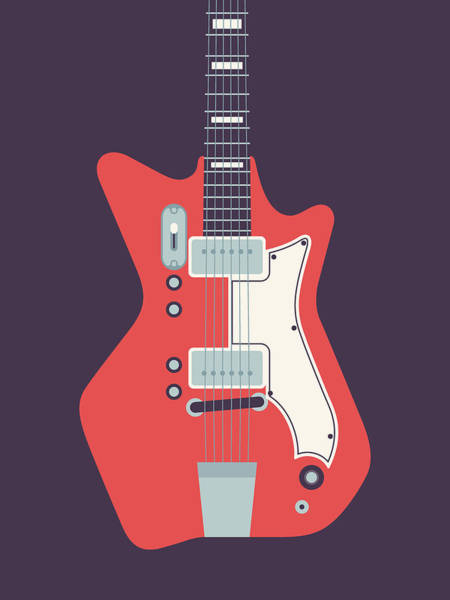 1960s Digital Art - 60's Electric Guitar - Black by Ivan Krpan