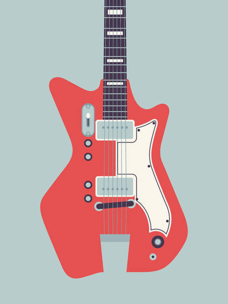 60s Digital Art - 60's Electric Guitar - Grey by Ivan Krpan