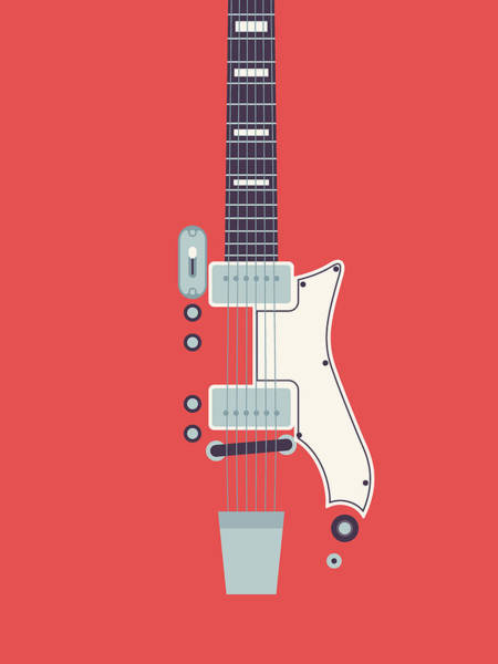 60s Digital Art - 60's Electric Guitar - Red by Ivan Krpan