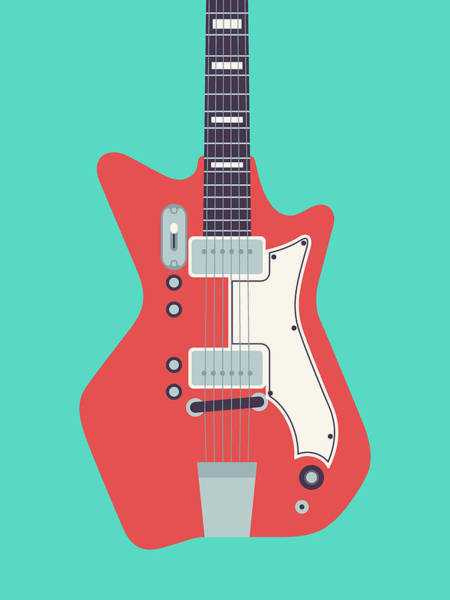 60s Digital Art - 60's Electric Guitar - Teal by Ivan Krpan