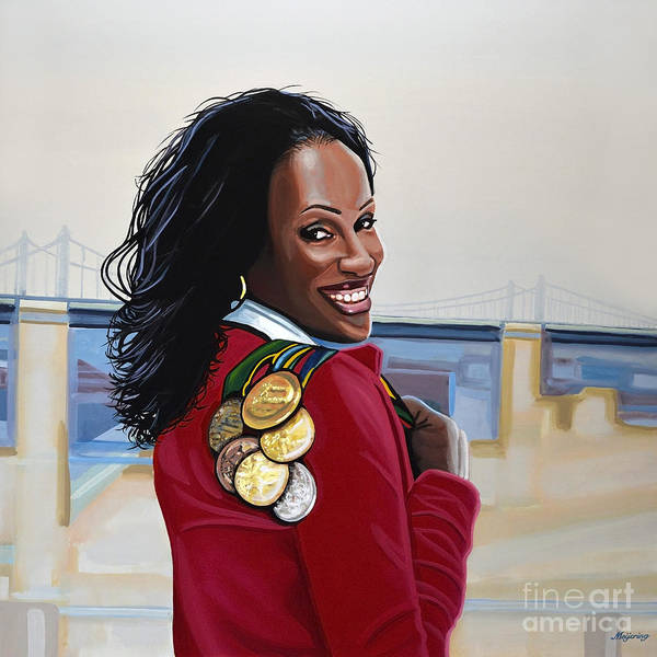 Wall Art - Painting - Jackie Joyner Kersee by Paul Meijering