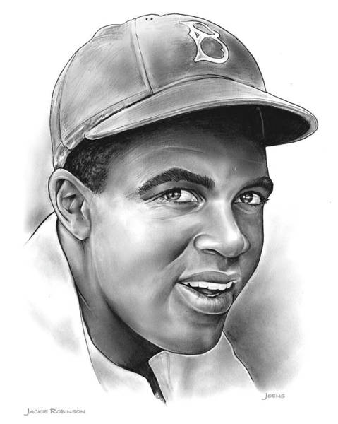 African American Wall Art - Drawing - Jackie Robinson by Greg Joens
