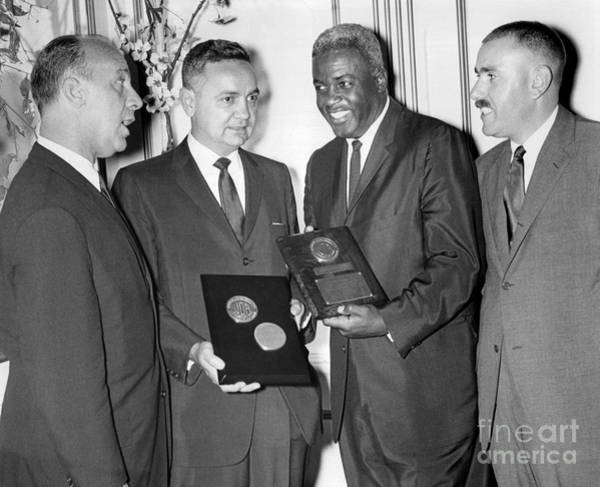 Jackie Robinson Wall Art - Photograph - Jackie Robinson Receives Award. 1960 by William Jacobellis