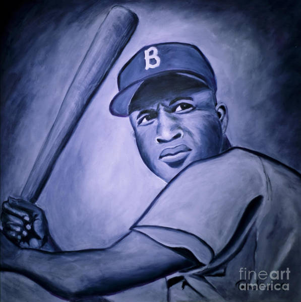 Jackie Robinson Wall Art - Painting - Jackie Robinson by Tabetha Landt-Hastings