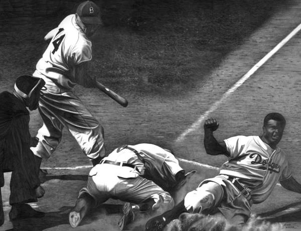 Jackie Robinson Wall Art - Drawing - Jackie Steals Home by Jerry Winick