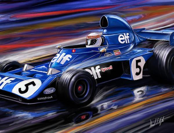 Formula One Digital Art - Jackie Stewart In The Rain by David Kyte
