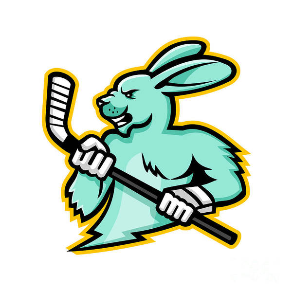 Haring Digital Art - Jackrabbit Ice Hockey Player Mascot by Aloysius Patrimonio