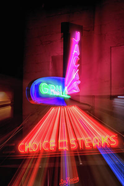 Neon Pink Photograph - Jacks Grill  by Marnie Patchett