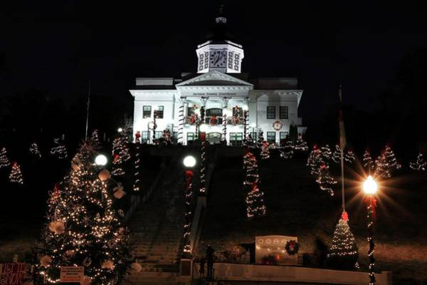 Photograph - Jackson County Courthouse All Decked Out For The Christmas Season by Carol Montoya