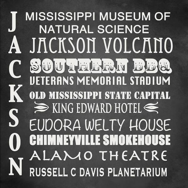 Bbq Digital Art - Jackson Famous Landmarks by Patricia Lintner